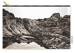 Carry-all Pouch featuring the photograph Rock - Sepia by Rebecca Harman