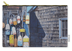 Rockport Fishing Shack With Lobster-buoys And Nets Carry-all Pouch by Barbara Barber