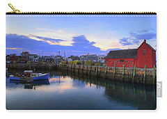 Carry-all Pouch featuring the photograph Rockport Harbor Sunset Panoramic With Motif No1 by Joann Vitali