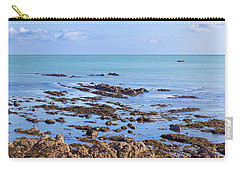 Carry-all Pouch featuring the photograph Rocks And Seaweed And Seagulls In The Irish Sea At Howth by Semmick Photo