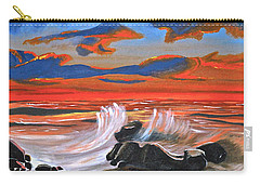 Carry-all Pouch featuring the painting Rocky Cove by Donna Blossom