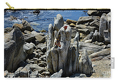 Carry-all Pouch featuring the photograph Rocky Remains At Carmel Point by Susan Wiedmann