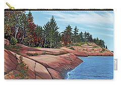 Carry-all Pouch featuring the painting Rocky River Shore by Kenneth M Kirsch