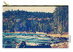 Carry-all Pouch featuring the photograph Rocky Shores Of Lake Superior by Phil Perkins