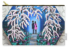Romance Under Cherry Blossom Textured Hexagonal Painting  Carry-all Pouch