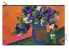 Romantic Purple Flowers In Blue Vase Carry-all Pouch