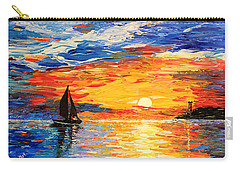 Carry-all Pouch featuring the painting Romantic Sea Sunset by Georgeta  Blanaru