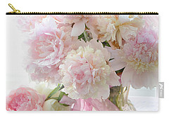 Romantic Shabby Chic Pink White Peonies - Shabby Chic Peonies Pastel Decor Carry-all Pouch