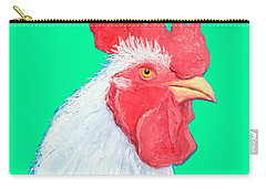 Rooster Art On Green Background Carry-all Pouch