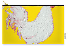 Rooster Art On Yellow Background Carry-all Pouch by Jan Matson