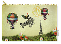 Rooster Flying High Carry-all Pouch by Peggy Collins
