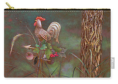 Carry-all Pouch featuring the painting Rooster Weather Vane In Garden by Nancy Lee Moran