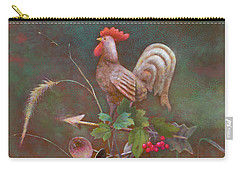 Carry-all Pouch featuring the painting Rooster Weather Vane In Square Format by Nancy Lee Moran