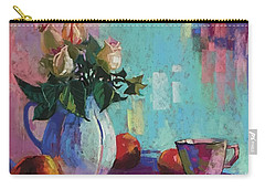 Rose And Peaches Still Life Carry-all Pouch