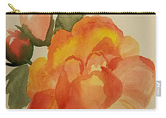 Rose And Rosebuds Carry-all Pouch by Maria Urso