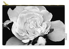 Carry-all Pouch featuring the photograph Rose Black And White by Christina Rollo