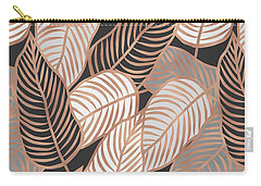 Rose Gold Jungle Leaves Carry-all Pouch