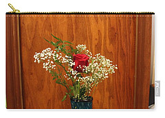 Carry-all Pouch featuring the photograph Rose In A Glass Vase Before by Marie Neder
