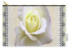 Carry-all Pouch featuring the mixed media Rose In A Lace Frame by Rosalie Scanlon