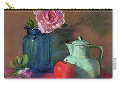 Rose In Blue Jar Carry-all Pouch by Vikki Bouffard