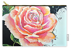 Carry-all Pouch featuring the painting Rose by Jodie Marie Anne Richardson Traugott          aka jm-ART
