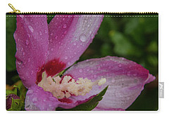 Rose Of Sharon Hibiscus With Rain Drops Carry-all Pouch