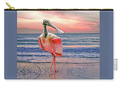 Carry-all Pouch featuring the photograph Roseate Spoonbill At Sundown  by Brian Tarr