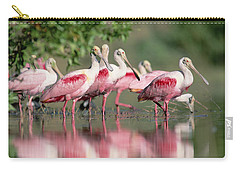Roseate Spoonbill Flock Wading In Pond Carry-all Pouch