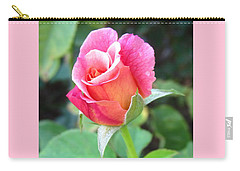 Rosebud With Border Carry-all Pouch by Mary Ellen Frazee