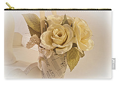 Roses And Butterfly Posy  Carry-all Pouch by Sandra Foster