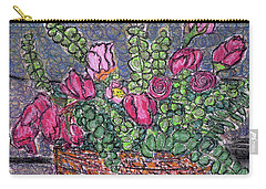 Roses And Eucalyptus In Basket Carry-all Pouch by Gerhardt Isringhaus