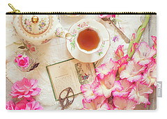 Roses And Gladiolas With Vintage Tea Pot And Cups Carry-all Pouch
