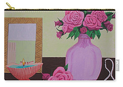 Carry-all Pouch featuring the painting Roses And Pearls by Hilda and Jose Garrancho