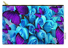 Roses And Purple Butterflies Carry-all Pouch by Saundra Myles