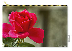Red Rose Wall Art Print Carry-all Pouch by Carol F Austin
