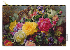 Roses By A Pond On A Grassy Bank  Carry-all Pouch by Albert Williams