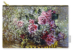 Roses In A Copper Vase Carry-all Pouch by Claude Monet