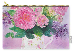 Roses In A Pink Floral Jug Carry-all Pouch