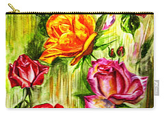 Carry-all Pouch featuring the painting Roses In The Valley  by Harsh Malik