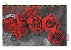 Carry-all Pouch featuring the photograph Roses On Lace by Bonnie Willis