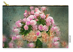 Roses Pink And Shabby Chic Carry-all Pouch by Saundra Myles