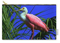 Carry-all Pouch featuring the painting Rosetta Spoonbill Alligator Farm by Deborah Benoit