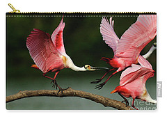Rosiette Spoonbills Lord Of The Branch Carry-all Pouch by Bob Christopher