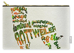 Carry-all Pouch featuring the painting Rottweiler Dog Watercolor Painting / Typographic Art by Ayse and Deniz