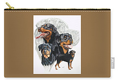 Rottweiler W/ghost  Carry-all Pouch by Barbara Keith