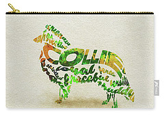Carry-all Pouch featuring the painting Rough Collie Watercolor Painting / Typographic Art by Ayse and Deniz