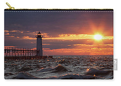 Carry-all Pouch featuring the photograph Rough Water Sunset by Fran Riley