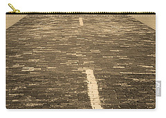 Carry-all Pouch featuring the photograph Route 66 - Brick Highway 2 Sepia by Frank Romeo