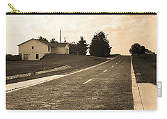 Carry-all Pouch featuring the photograph Route 66 - Brick Highway Sepia by Frank Romeo