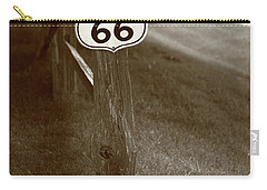 Carry-all Pouch featuring the photograph Route 66 Shield And Fence Sepia Post by Frank Romeo